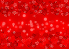 Love. Color glowing hearts with red bokeh  background wall paper Royalty Free Stock Images