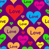 Love in color hearts. Seamless texture with color hearts St. Valentine's Day Stock Image