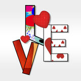 Love. Colored letters  and forms of hearts love Stock Photo