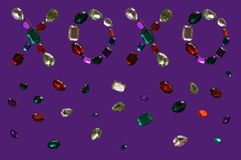 Glamour shiny stones sparkling jewelry glitters gems frame background. Love Colorful glamour shiny stones sparkling jewelry glitters gems frame background Stock Photo