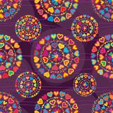 Love colorful glitter symmetry purple seamless patterm. This illustration is design mandala love colorful with glitter and symmetry decoration with line Stock Image