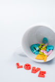 LOVE Colorful Letters with White Coffee Cup. For Valentines day Stock Image