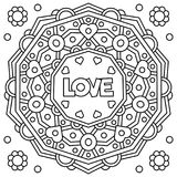 Love. Coloring page. Vector illustration. Love. Coloring page. Black and white vector illustration Royalty Free Stock Photos