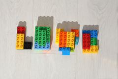 Love, Coloured Lego bricks Stock Photo