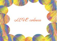 Love colours card, Abstract cheerful rainbow painting , riot of colours, rainbow, fantastic colors. Love colours card, abstract hand painted rainbow painting Royalty Free Stock Photography