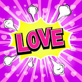 Love. Comic speech bubble, catroon. Vector illustration. Stock Photos