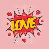 LOVE - Comic Speech Bubble. Greeting card for Valentine`s day in the style of comics Stock Photos