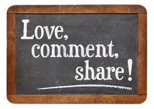 Love, comment, share Royalty Free Stock Photo