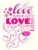 Love composition. Typographic composition with the word LOVE Stock Photos