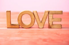 Love composition of wooden letters Royalty Free Stock Photography