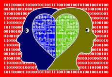 In Love with Computer Technology. Couple sharing mutual passion and enthusiasm for information technology Royalty Free Stock Photo