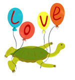 Love concept. Vector illustration love concept. Turtle flying on air-balloons Stock Images