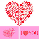 Love concept. With heart design on pink and white background Stock Photography