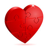 Love Concept. 3D Heart Puzzle. It is easy to change the color. Vector Illustration stock illustration