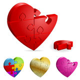 Love Concept. Set 3D Heart Puzzle. Broken and Whole. It is easy to change the color. Vector Illustration Stock Images