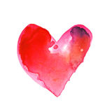 Love concept with artistic watercolor heart illustration Stock Photography