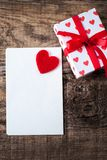 Love concept background with red hearts and paper note card  for. Valentine, Love, Wedding event Stock Image