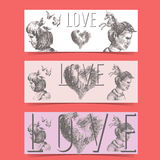 Love concept banners Royalty Free Stock Photography