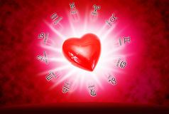Love concept. Big red heart on background of horoscope and love concept Stock Images