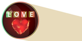 Love the concept of a button. a brushed heart. And an inscription. illustration for your design Royalty Free Stock Photos