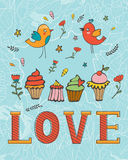 Love concept card with cupcakes and desserts Stock Photography