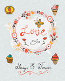 Love concept card with cupcakes and floral wreath Royalty Free Stock Photos