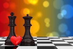 Love Concept. Chess King and Queen Figures with Red Heart over C. Hessboard on a multicolor background. 3d Rendering Stock Photo