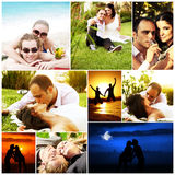 Love concept collage. With various images of happy young couples Royalty Free Stock Photography