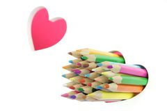 Love Concept. Color Pencils, Two Love Heart, White Background Stock Images