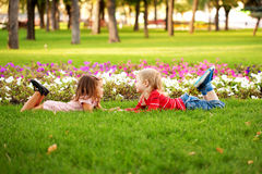 Love concept. .Couple of children outdoor Royalty Free Stock Images
