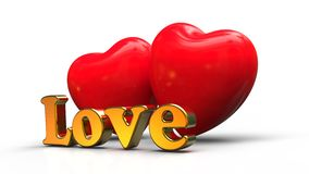 Love concept. 3D render image representing two hearts and Love text Stock Illustration