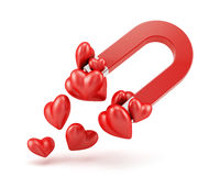 Love concept. 3d render of magnet with red hearts. Love concept Stock Photos
