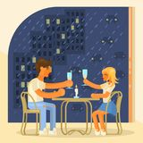 Love concept design. For Valentine`s Day. Boy and girl on a date in a cafe. Couple of lovers at a table in a restaurant drink champagne. Romantic day in flat Royalty Free Stock Photo