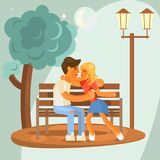 Love concept design. For Valentines Day. Boy and girl hugging sitting on a Park bench. Couple sitting on bench and kissing. Romantic day in Park. Vector Royalty Free Stock Images
