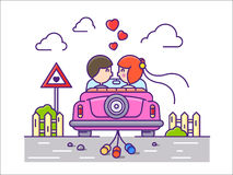 Love concept flat. Newlyweds kissing in car with cans. Vector illustration Stock Photos