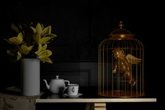 Love and concept . gold cupid in bird cage .Valentines day.3d re. Ndering. 3d illustration.minimal style Royalty Free Stock Images
