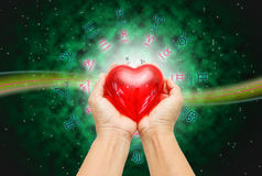 Love concept. Green background of astrology concept stock photo