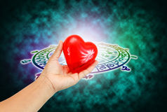 Love concept. Green background of astrology concept stock photography