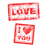 Love concept grungy rubber stamp Stock Photography