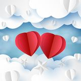 Love concept with clouds and sky paper art style royalty free stock photos