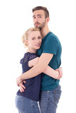Love concept - happy young man and woman hugging isolated on whi Royalty Free Stock Images
