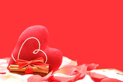 Love concept with heart. Rose petals, heart, cinnamon on a red background Royalty Free Stock Photos