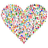 Love concept; heart made of people. Royalty Free Stock Image