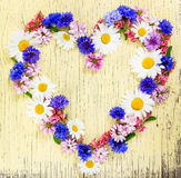 Love concept with heart symbol made of meadow flowers Royalty Free Stock Photography
