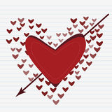 Love concept of hearts and big heart in centre Royalty Free Stock Photography