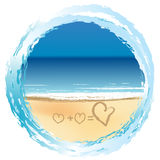 Love concept with hearts drawn on the sand vector illustration