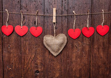 Love concept. Hearts hanging on a string Stock Photo