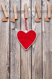 Love concept. Hearts hanging on a string Royalty Free Stock Photo