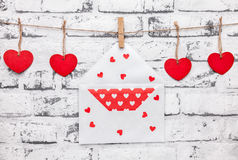 Love concept. Hearts and love letter on a string Stock Images