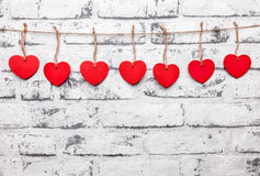 Love concept. Hearts on a string Stock Photography
